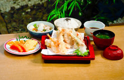 Shrimps tempura set Japanese food menu  Royalty Free Stock Photography