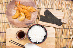 Tempura Shrimp with rice , Japanese cuisine Stock Image
