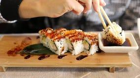 Tempura shrimp roll stock video footage