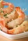 Tempura shrimp skewer. Tempura Jumbo Shrimp skewer on table with fried rice pasta Stock Photography