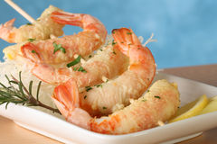 Tempura shrimp skewer. Tempura Jumbo Shrimp skewer on table with fried rice pasta Royalty Free Stock Photo