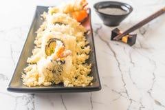 tempura shrimp sushi roll Royalty Free Stock Images