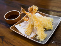 Tempura Shrimps (Deep Fried Shrimps) with sauce Stock Photos