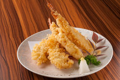 Tempura Shrimps (Deep Fried Shrimps) with sauce. Japanese Cuisine - Tempura Shrimps (Deep Fried Shrimps) with sauce stock photography