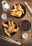 Tempura Shrimps (Deep Fried Shrimps) with sauce Stock Image