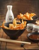 Tempura Shrimps (Deep Fried Shrimps) with sauce Stock Photos