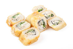 Tempura sushi. Isolated on white background Stock Image