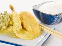 Tempura y arroz foto de archivo