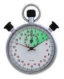 Tempus fugit green. Frontal closeup of stopwatch, 5 seconds elapsed time colored with green gradient Royalty Free Stock Image