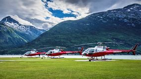 Temsco直升机在Skagway,阿拉斯加 免版税库存图片