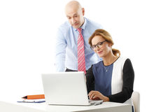 Temwork with laptop Royalty Free Stock Photography