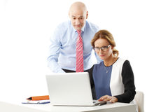 Temwork with laptop Royalty Free Stock Images