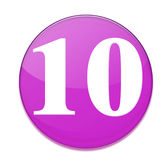 The ten. Ten number in purple round shape Royalty Free Stock Photo
