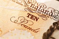 Ten. A close up photo of english ten pound note Royalty Free Stock Photos
