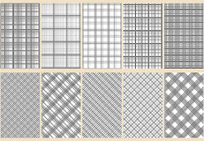 Ten abstract seamless patterns. Black and white colors. Horizontal, vertical and diagonal lines. Strict style. Vector illustration Royalty Free Illustration