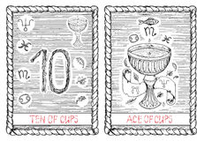 Ten and ace of cups. The tarot card. Stock Images