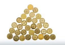 Ten agorot coins Israeli bank . Stock Images