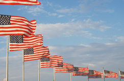 Ten American Flags Flying. At Washington National Monument, Washington, D.C Stock Photos