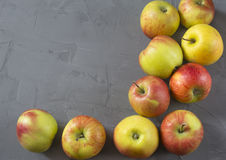Ten apples isolated. Ten apples on grey background Stock Image