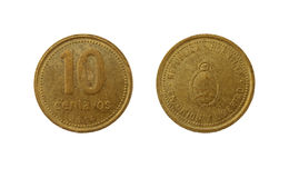 Ten Argentinian peso centavos coin. Isolated on white background Royalty Free Stock Photo