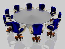 Ten armchairs. Behind a round glass table vector illustration
