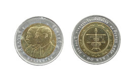 Ten Baht Thailand coins limited edition. Royalty Free Stock Photos