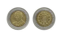 Ten Baht Thailand coins limited edition. Royalty Free Stock Photo