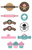 Ten Bakery and Cupcake badges. Set of 10 bakery and cupcake design elements. Easy to edit  shapes and colours Royalty Free Stock Image