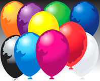 Ten balloons. Ten colorfully ballons over gradient Stock Illustration