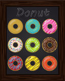 Ten beautiful colorful donuts with glaze Royalty Free Stock Photo