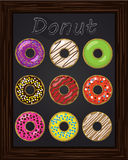 Ten beautiful colorful donuts with glaze Royalty Free Stock Images