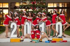 Ten beautiful Santas Stock Photo