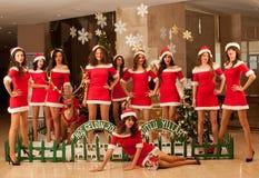 Ten beautiful Santas Royalty Free Stock Images