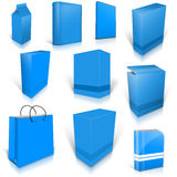 Ten blue light blank boxes isolated on white Royalty Free Stock Photography