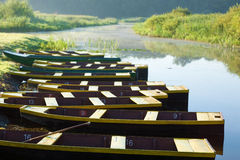 Ten boats anchored on the bank of pond Royalty Free Stock Photos