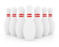 Ten bowling pins. On white background Royalty Free Stock Photography