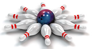 Ten Bowling Pins Down Around a Bowling Ball Stock Photography