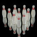 Ten bowling pins Stock Photo