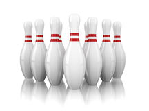 Ten bowling pins isolated on white Stock Photos