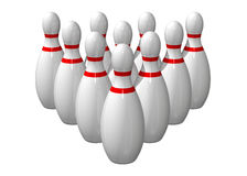 Ten bowling pins lined up. On a white background stock illustration