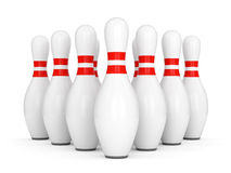 Ten bowling pins. With red stripes isolated on white background. 3D illustration Royalty Free Stock Photography