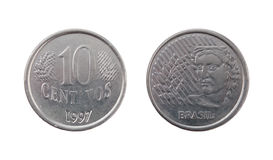 Ten Brazilian real centavos Stock Image
