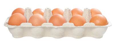 Ten brown eggs Royalty Free Stock Images