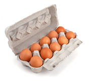 Ten brown eggs in a carton package Stock Photo