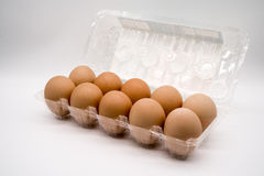 Ten brown eggs Royalty Free Stock Image