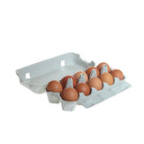 Ten brown eggs Stock Photo