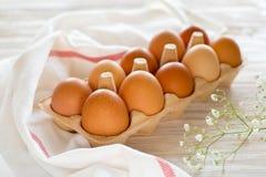 Ten brown eggs Stock Photography