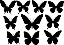 Ten butterfly silhouettes set Royalty Free Stock Image