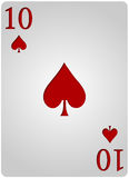 Ten card spades poker. Vector ten spades card poker with red letters and white card for casino poker Royalty Free Stock Photo