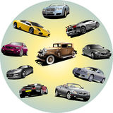 Ten cars in circle Stock Image